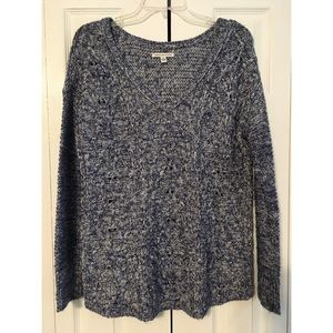 American Eagle Blue V-neck Cable Knit Sweater